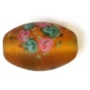 Glass Lamp Bead 15x10mm Oval Topaz Matt